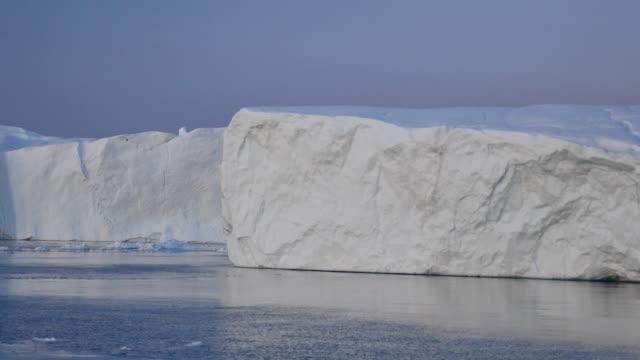 Greenland by boat, slides along white iceberg