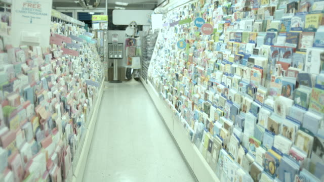 WS, Greeting card aisle in pharmacy, Scotch Plains, New Jersey, USA