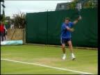 Greg Rusedski drugs hearing in Montreal LIB Sydney Rusedski practicing on tennis court