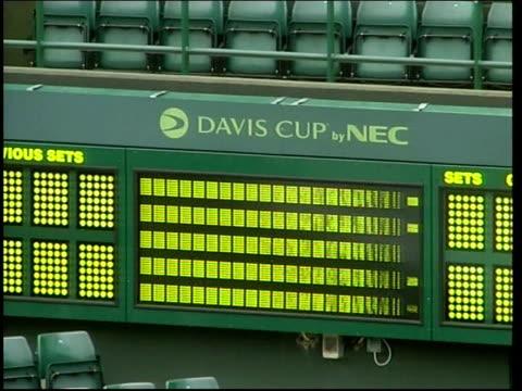 Greg Rusedski training at Wimbledon ENGLAND London Wimbledon LTA EXT General views of near empty Centre Court Young children playing short tennis...