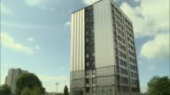82 buildings fail new fire safety tests ENGLAND Greater Manchester Salford EXT GVs block of flats with cladding partially exposed / Carlton Brown...