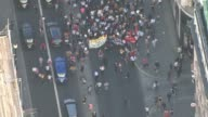 aerials of Central London protest march ENGLAND Central London VIEWS / AERIALS of Grenfell Tower fire protest march from Trafalgar Square up Regent...