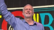 At least 34 blocks at fire risk as every sample so far has failed safety checks Somerset Glastonbury Festival **Corbyn speech overlaid SOT** Crowd...