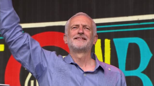 At least 34 blocks at fire risk as every sample so far has failed safety checks Somerset Glastonbury Festival **Corbyn speech overlaid SOT** Crowd...