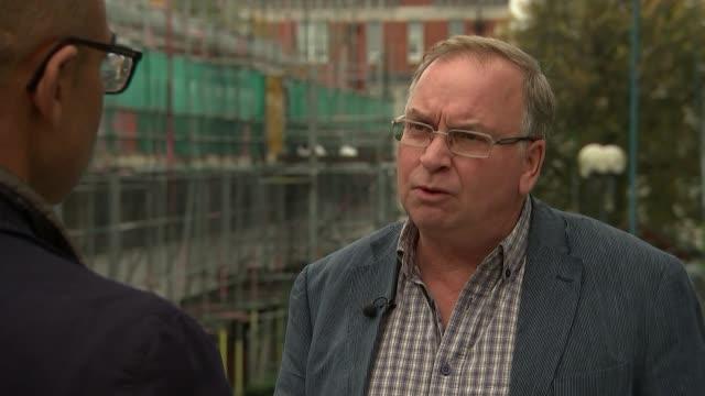 Concern about Kensington and Chelsea social housing plans Westminster EXT Jonathan Rosenberg interview SOT/ GV construction site building site /...