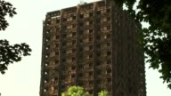 Continued criticism over council and government response to disaster North Kensington Latimer Road Grenfell Tower PAN windows with burnt cladding...