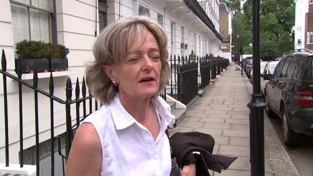 Elizabeth Campbell doorstep ENGLAND London EXT Elizabeth Campbell doorstep interview SOT