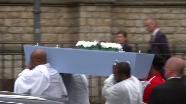Funeral of fiveyearold victim Isaac Paulos ENGLAND London EXT Funeral service for 5yearold Isaac Paulos in Ethiopian Orthodox Tewahedo Church people...