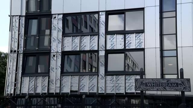 GVs Salford cladding ENGLAND Greater Manchester Salford LAPSE apartment buildings with cladding removed / GVs cladding on tower blocks / fire damage...