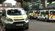 Inquiry to begin amid controversy 3 months after fire T20071718 / TX North Kensington EXT Grenfell Tower block of flats with police van parked in...