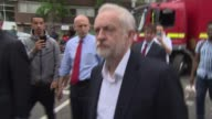 Jeremy Corbyn visit ENGLAND London EXT Various of Jeremy Corbyn MP arriving with Shadow Housing Minister John Healey and new Labour MP for Kensington...