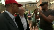 Jeremy Corbyn visit Labour Party Leader Jeremy Corbyn chatting with man and posing for photo / Corbyn away