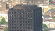 Kensington protest aerials AIR VIEWS / AERIALS burnt out Grenfell Tower