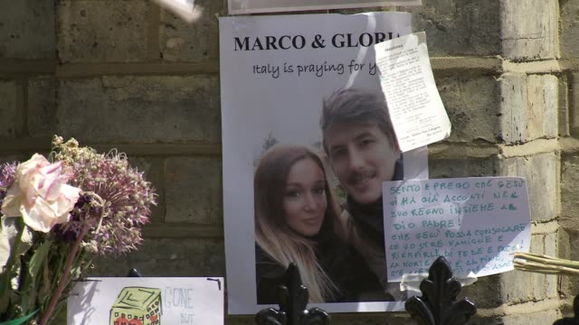 Parents of Italian girl killed in fire give evidence to enquiry R260617025 / North Kensington Picture of Gloria Trevisan and Marco Gottardi left near...