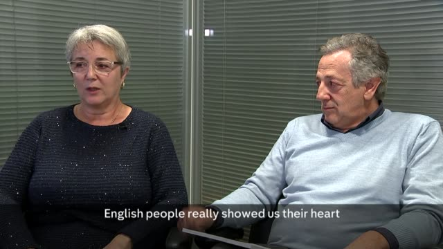 Parents of Italian girl killed in fire give evidence to enquiry London INT Emmanuela Disaro and Loris Trevisan interview SOT