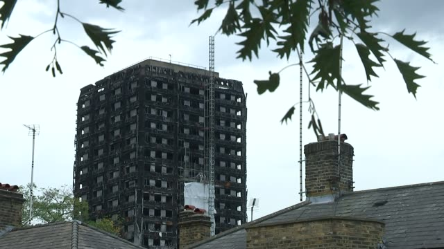 Police put final death toll at 71 North Kensington EXT Various shots of burntout shell of Grenfell Tower with fire safety insepctors on scaffolding...