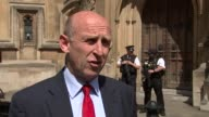 Questions about cladding / tower block safety John Healey and Andy Slaughter interveiws ENGLAND London Westminster EXT John Healey MP interview SOT /...