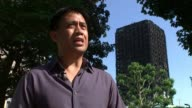 Son of man rescued from tower talks of ordeal / Fire safety review Gordon Bonifacio looking at wreckage of Grenfell Tower with ITN reporter Gordon...