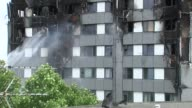 Water sprayed onto building ENGLAND London EXT Smouldering shell of Grenfell Tower hosed down