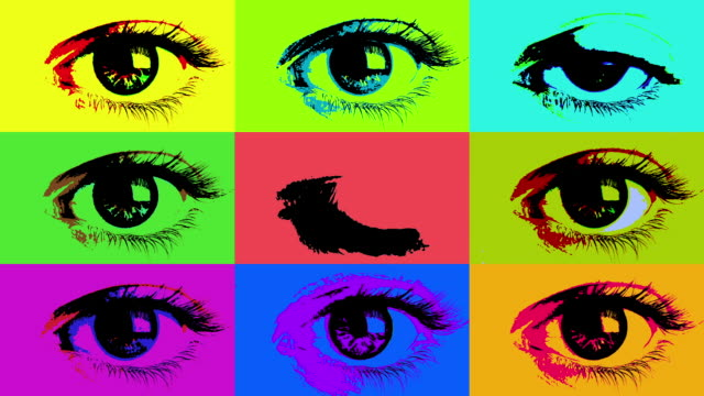 Grid of posterized eyes