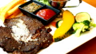 Grilled beef meat steak with vegetable