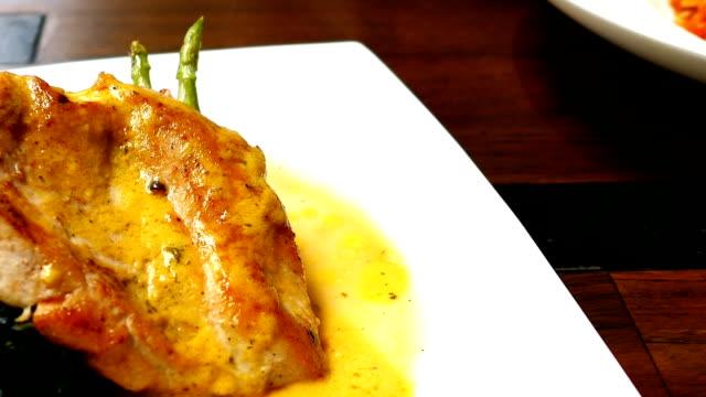 Grilled chicken breast steak with vegetable