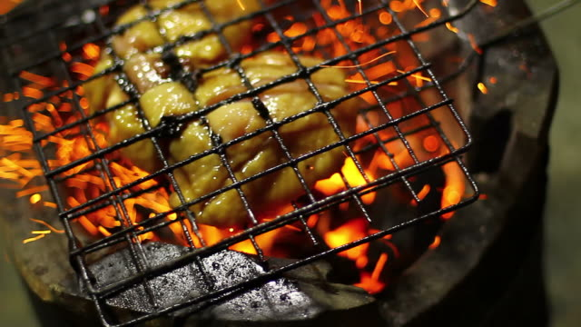 Grilled chicken on stove with fire flame