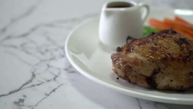 grilled chicken steak with vegetable