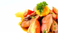 Grilled duck breast meat with sweet sauce