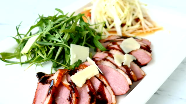 Grilled duck meat and breast salad