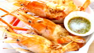 Grilled prawns with spicy seafood sauce