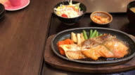 grilled salmon steak with sauce - japanese food style