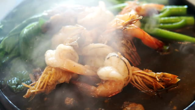 Grilled shrimp on tray