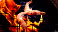 Grilled Shrimps in fire slow motion