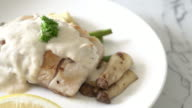 grilled snapper fish steak with vegetable