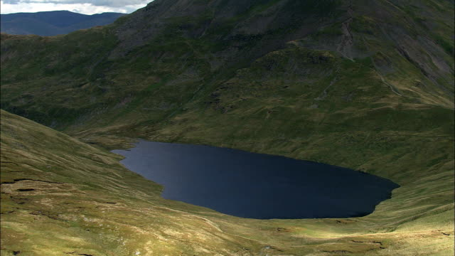 Grisedale Tarn To St Sunday Crag  - Aerial View - England, Cumbria, South Lakeland District, United Kingdom