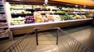 Grocery cart POV rushing through a grocery store.