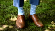Groom with classic elegant shoes and fancy socks