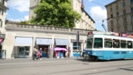 Grosvenor bridge Kathedrale Schicht Schrägansicht pan, Straßenbahn, Zürich