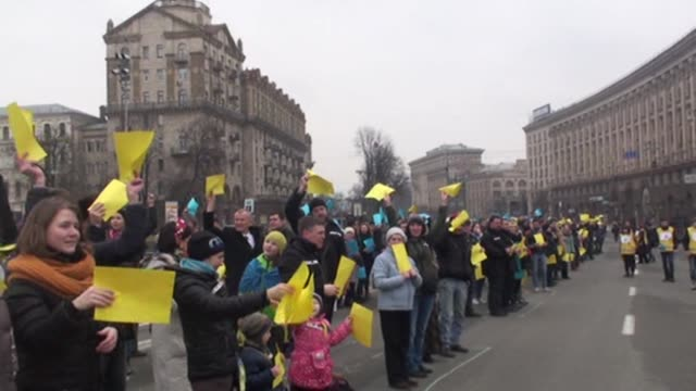 A group gathered at the Independence Square stage a demonstration to mark the first anniversary of occupation of Crimean parliament and the cabinet...