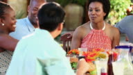 MS DS Group of Adult Couples Eating Dinner at Backyard Cookout / Richmond, Virginia, USA