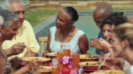 MS, PAN, Group of Baby Boomer Couples Eating Together Next to Pool, Richmond, Virginia, USA
