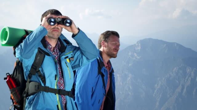 Group of backpacker with binoculars