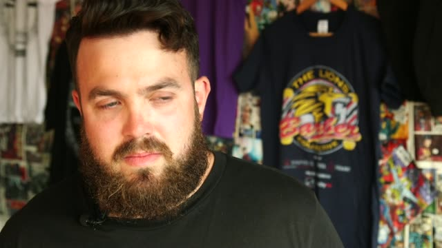 Group of barbers work with mental health charities to help men suffering from depression ENGLAND INT Paul Richardson interview re mental health SOT I...