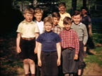1940 PORTRAIT group of boys posing for camera outdoors / Maplewood, NJ / home movie
