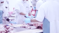 Group of butchers working in fresh meat processing factory