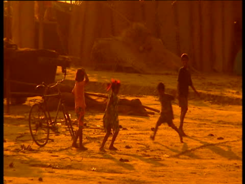Group of children playing with each other under golden haze of sunset as two dogs chase each other in background Goa