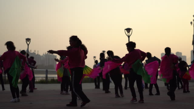 A group of Chinese Dama dancing on a riverside square at sunset According to a report on China's square dancing industry released in 2015 it is...