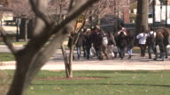 MS SELECTIVE FOCUS Group of college students walking through university campus grounds, Bethlehem, Pennsylvania, USA