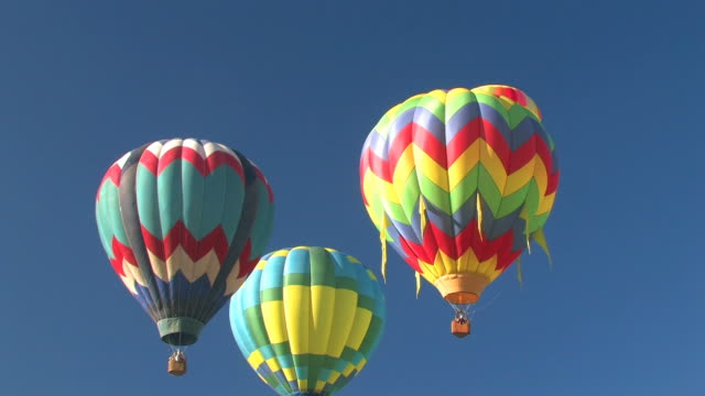 Group of Colorful Hot Air Balloons Flying